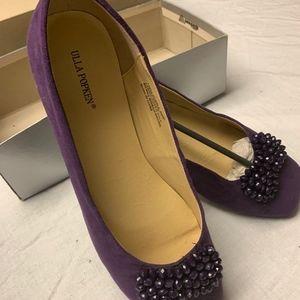 purple suede ballet flats